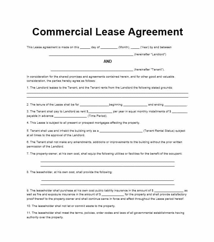 Free Commercial Lease Agreement Templates Business