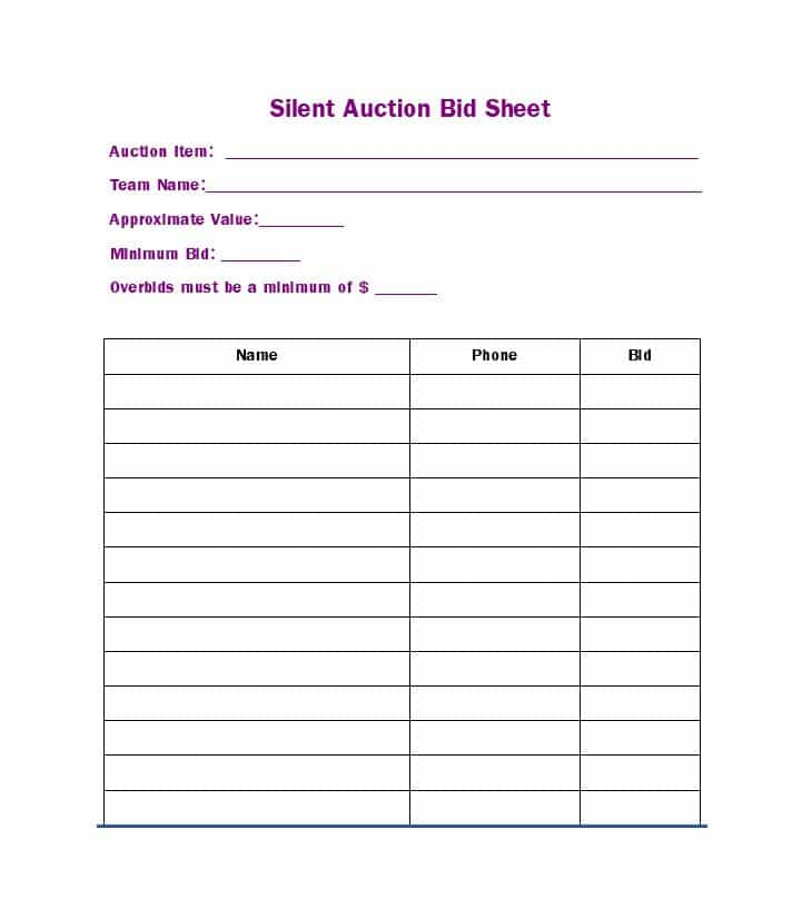 free silent auction bid sheet templates