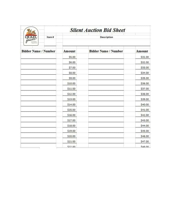 photograph relating to Printable Silent Auction Bid Sheet identified as Free of charge Quiet Auction Bid Sheet Templates-Phrase,Excel