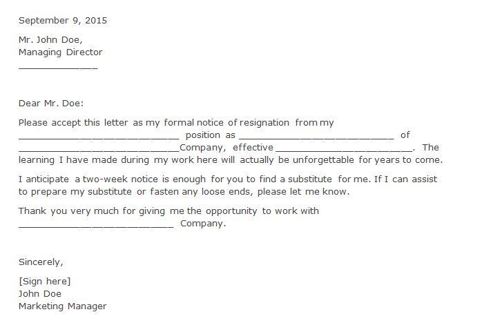 free resignation letter  u0026 two weeks notice letters