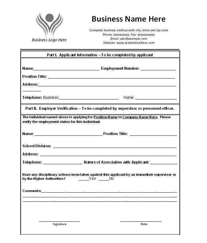 free proof of employment letter verification forms templates word