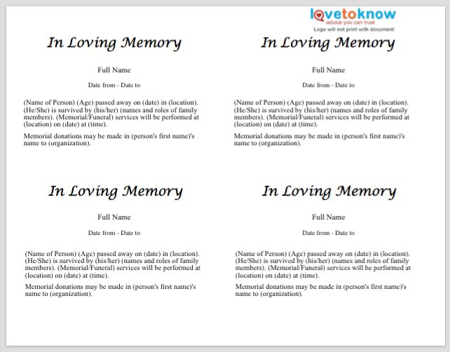 Free Obituary Templates Word Pdf Sample Template Section