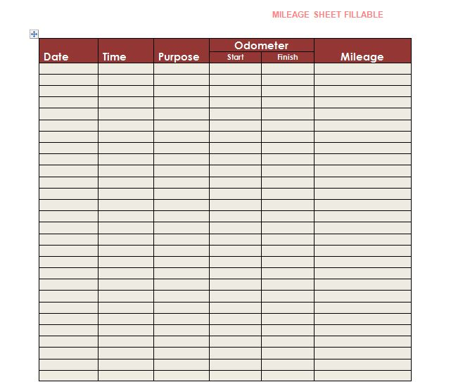Free Mileage Log Templates- Word, Excel - Template Section