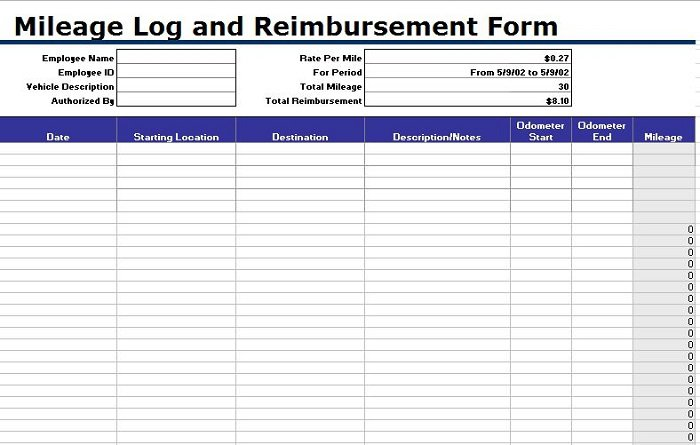 free mileage log templates- word  excel