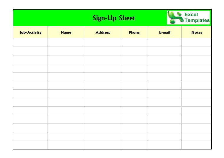 Free Sign In Sign Up Sheet Templates Excel Word