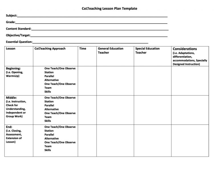 Free Lesson Plan Templates Word PDF Template Section - Lesson plan template special education