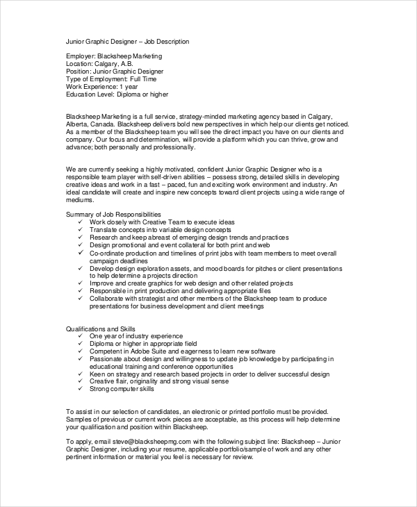 15 job description templates free samples template for Samples of job descriptions templates