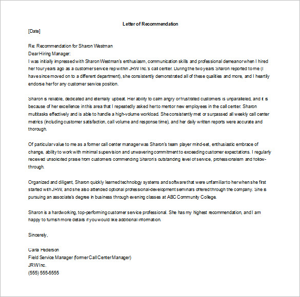 Recommendation-for-Employment Official Reference Letter Template on for nursing professional, nursing school, legal character, sample business, personal job, for coworker, for former employee,