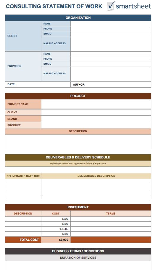 statement of work template 8 free word excel pdf template section