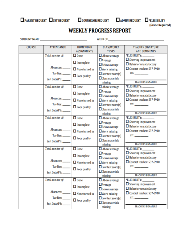 Free Weekly Report Template 12 Excel Powerpoint Word