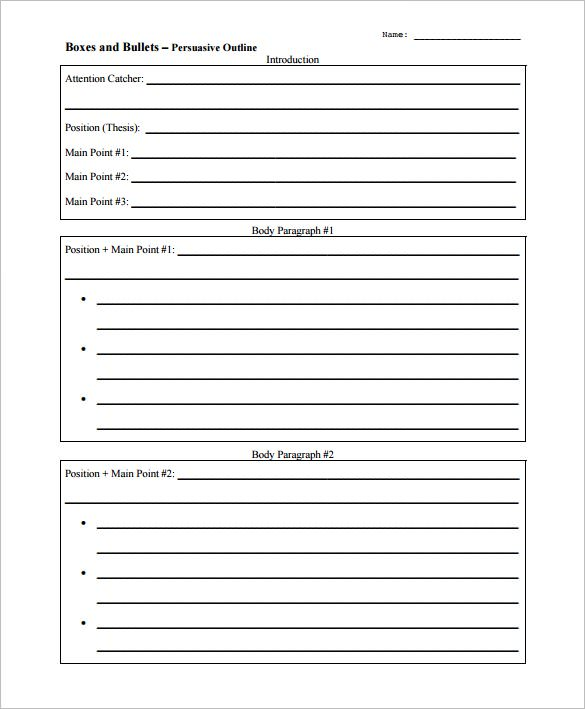 High school outline for persuasive essay template