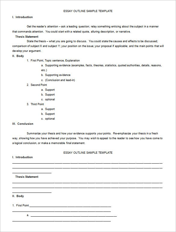 essay outline templates - 10   free word pdf samples
