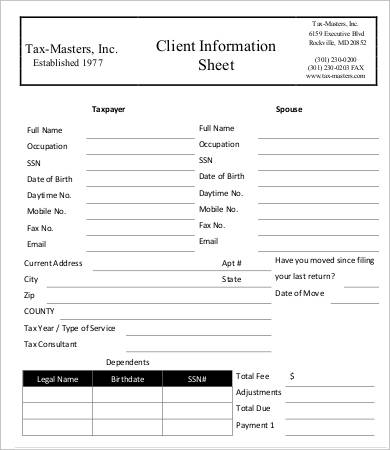 Client information sheet templates 5 blank samples for Personal trainer client profile template