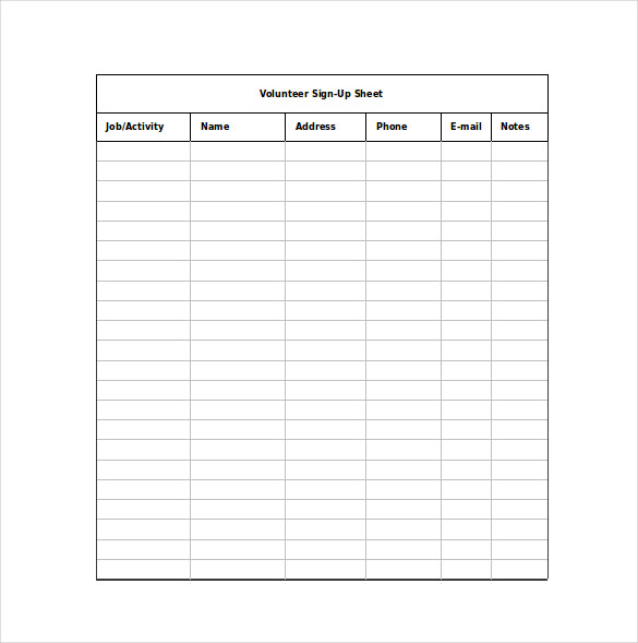 12 sign up sheet templates free excel word sample template section
