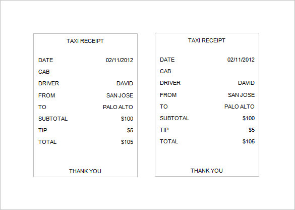Taxi Receipt Templates Free 8 Sample Word Pdf