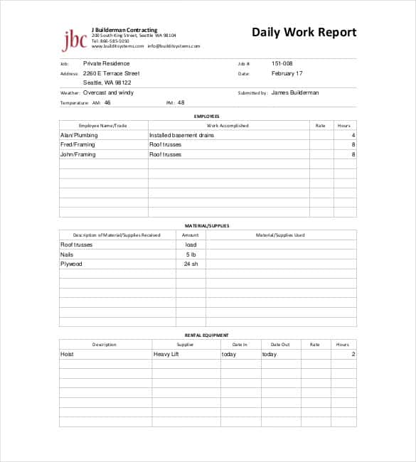 Daily Report Templates - 8+ Free Samples Excel Word ...