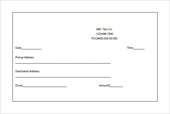 Taxi receipt templates free 8 sample word pdf for E receipt template