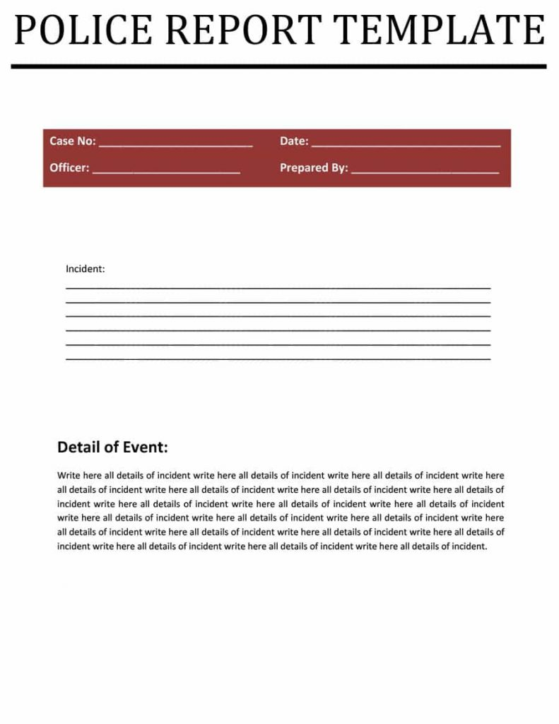 police report templates - 8  free blank samples