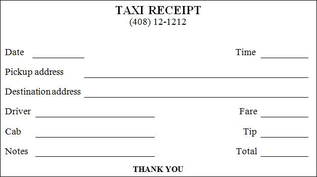 Shocking image for printable taxi receipts
