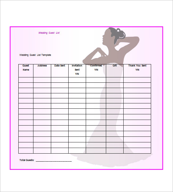 Wedding Guest List Templates   8+ Free Printable Excel Sample   Template  Section  Event Guest List Template