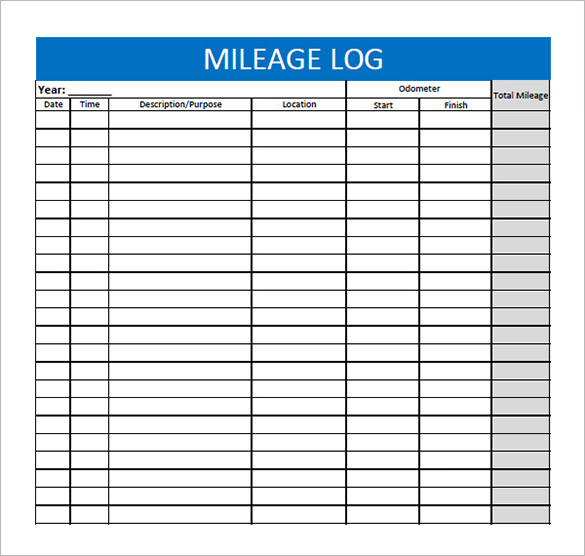vehicle mileage log template - 8  free printable excel