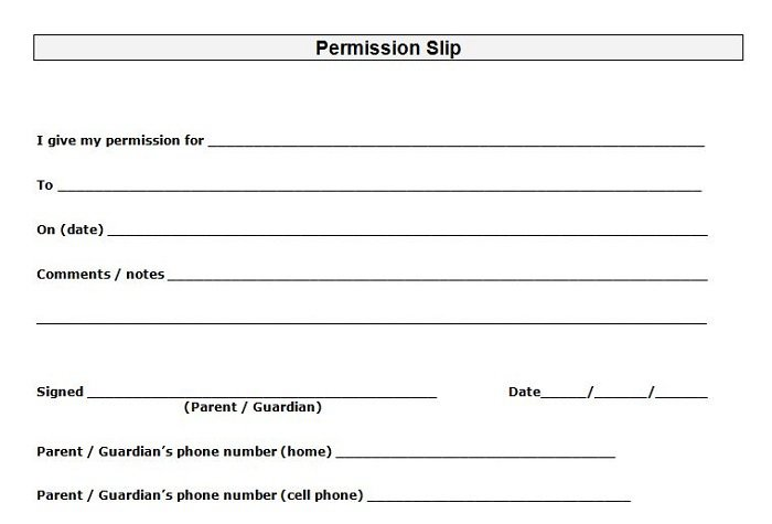 Lucrative image with printable permission slips