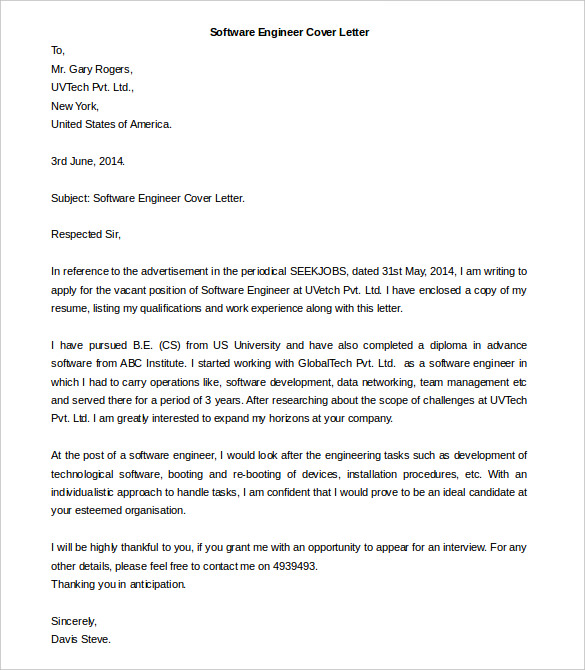 Free Cover Letter Template 10 Best Word Google Docs Template