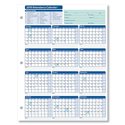 employee attendance calendar 2018 free tracker pdf excel template section. Black Bedroom Furniture Sets. Home Design Ideas