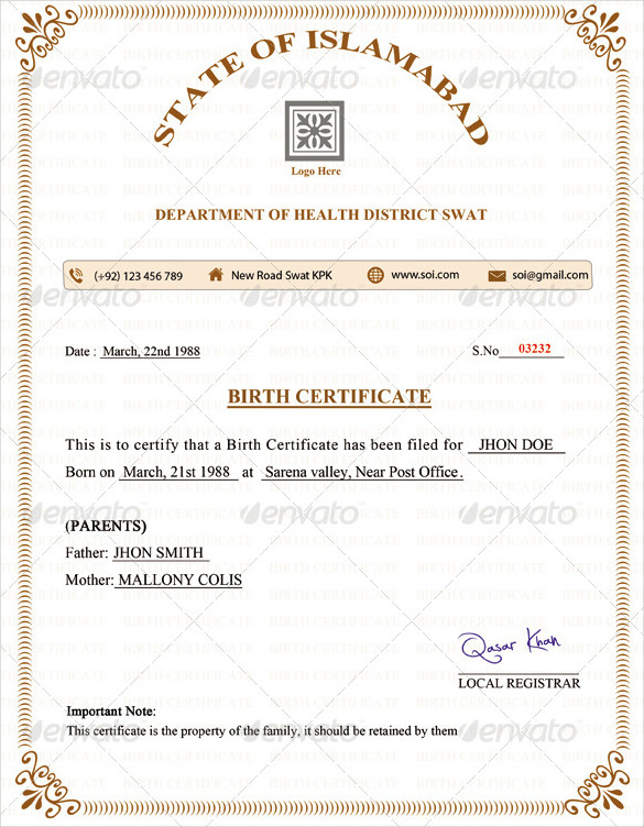 free birth certificate template sample format example template section - Certificate Of Birth Template