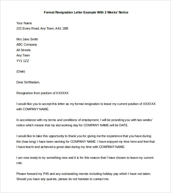 Two Week Notice Letter, Samples - Resignation Templates Example - Template Section