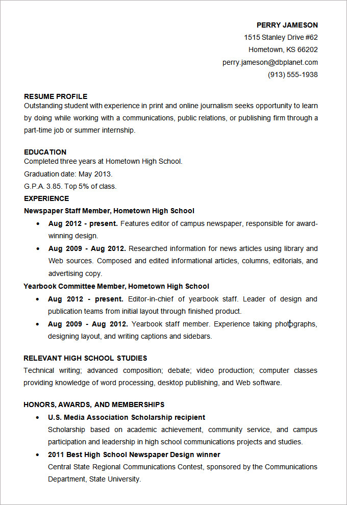 Custom resume writing for high school students