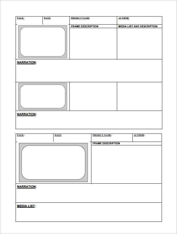 Free Storyboard Templates Pdf Word Samples Examples Template