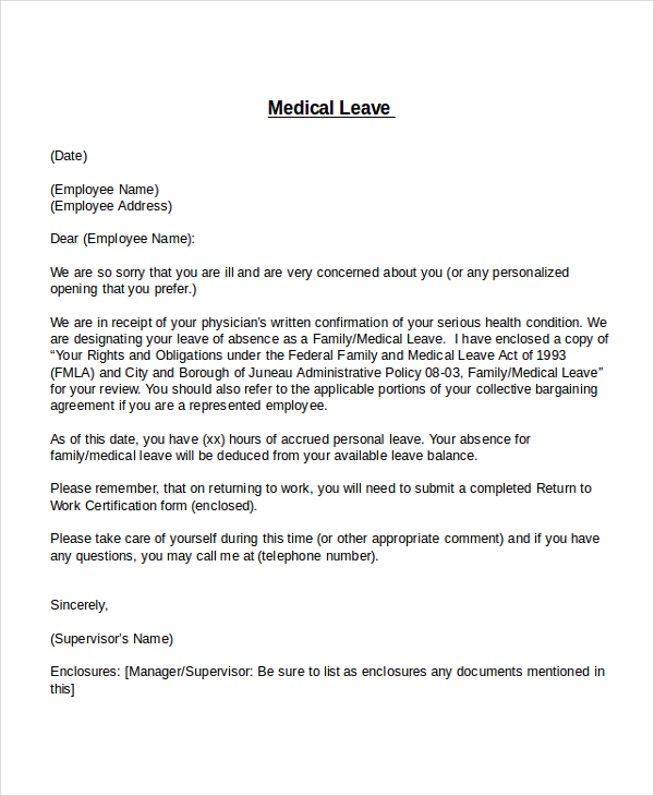 leave of absence letter templates