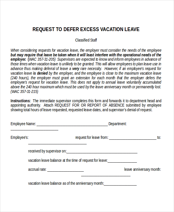 emergency vacation leave letter