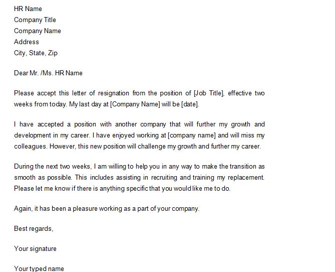 Free Resignation Letter Template Word Samples Examples