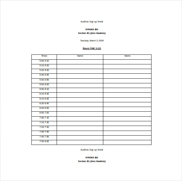 12+ Sign Up Sheet Templates - Free Excel Word Sample ...