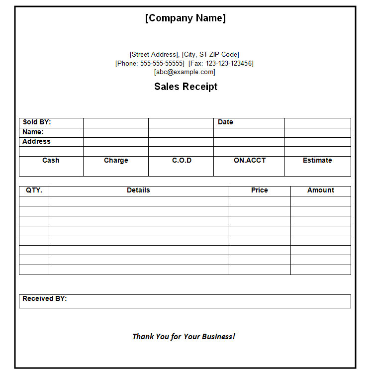 Payment Receipt Template - 10+ Free Word Excel - Template Section