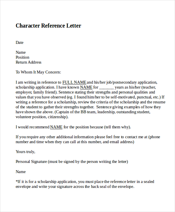 character reference for a friend 10 best personal character reference letter how to 21462 | Character Reference Letter