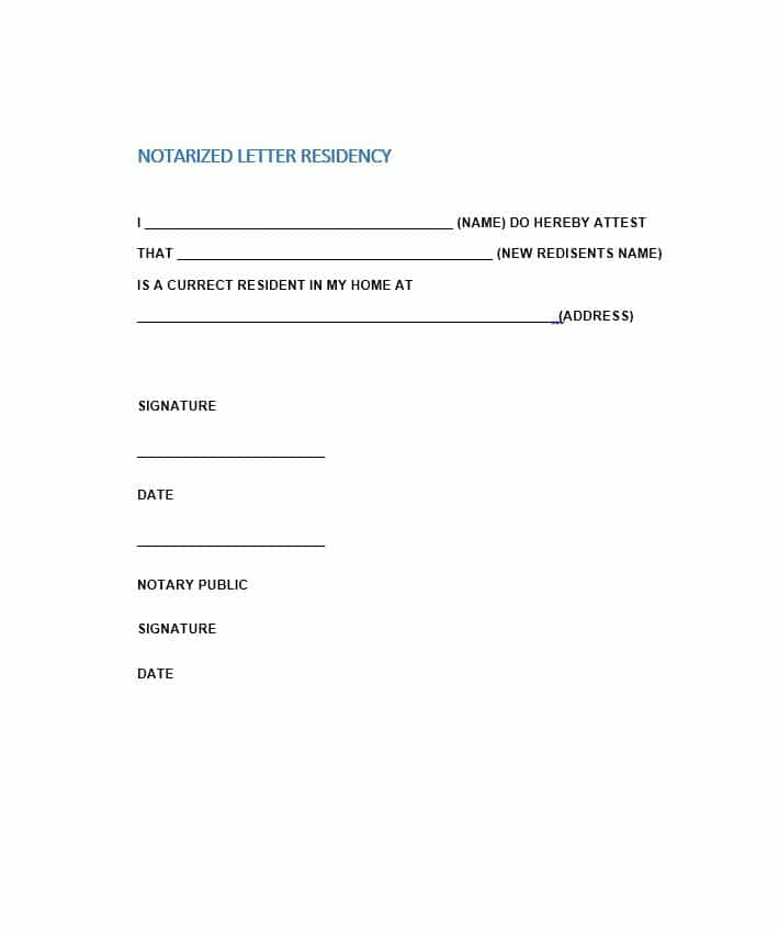proof of residency letter for immigration notarized letter of residency sample 15269